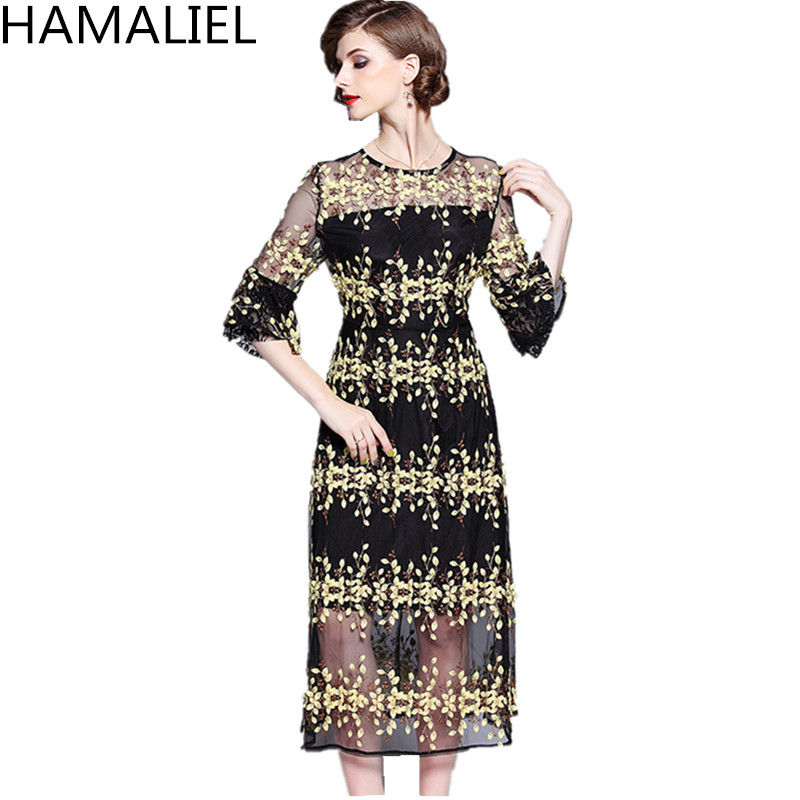 HAMALIEL Women <font><b>Luxury</b></font> Mesh Party Midi <font><b>Dress</b></font> <font><b>2018</b></font> Runway Summer <font><b>Sexy</b></font> Black Embroidery Floral Perspective Flare Sleeve Long <font><b>Dress</b></font> image