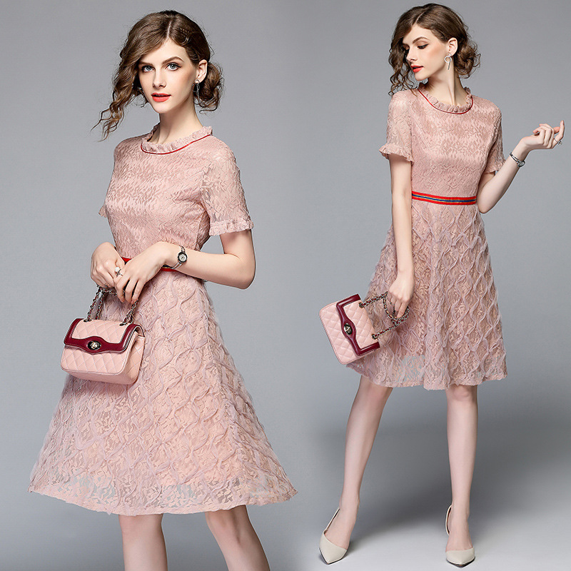LARCI woman dress knee length pink lace dress red strip collar metal bee  red belt fashion sweet cute peach pink dress N3287-in Dresses from Women s  Clothing ... 708cf60000bb