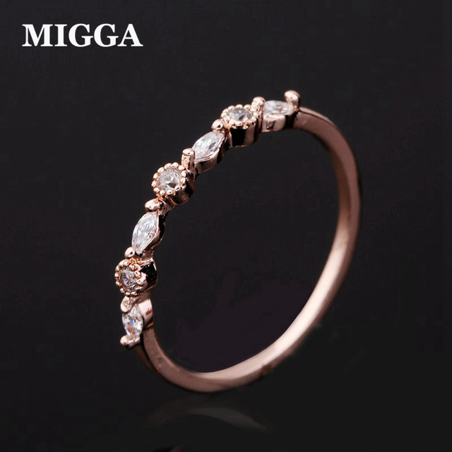 MIGGA Brand Shining Small Fashion Cubic Zircon Ring for Women Girls Rose Gold Co
