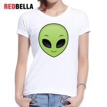 REDBELLA T-shirt Women Tops Ulzzang Space Alien Green Smile Black Eyes Cute Cotton Symmetrical Graphics Camiseta Mujer Clothing