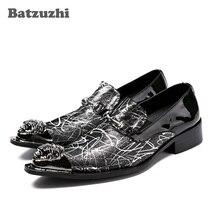 Batzuzhi 3cm Heels Formal Men's Dress Shoes Genuine Leather Luxury Handmade Pointed Toe Leather Shoes Men Sapato Masculino