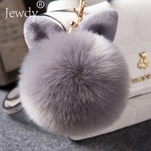 2018 Fur Pom Pom Keychains Fake Rabbit fur ball key chain porte clef pompom de fourrure