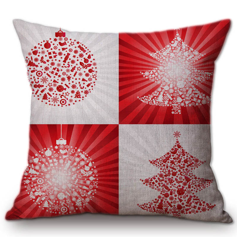 Red and White Christmas Balls Pillows Decorations for Home Cotton Linen Merry Christmas Letter Print Art Nordic Pillow Cases