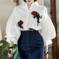 Vintage Lantern Sleeve Blouse 2017 New Arrival Women Rose Embroidery Single Breasted Buttons Loose Puff Tops Cotton White Shirt