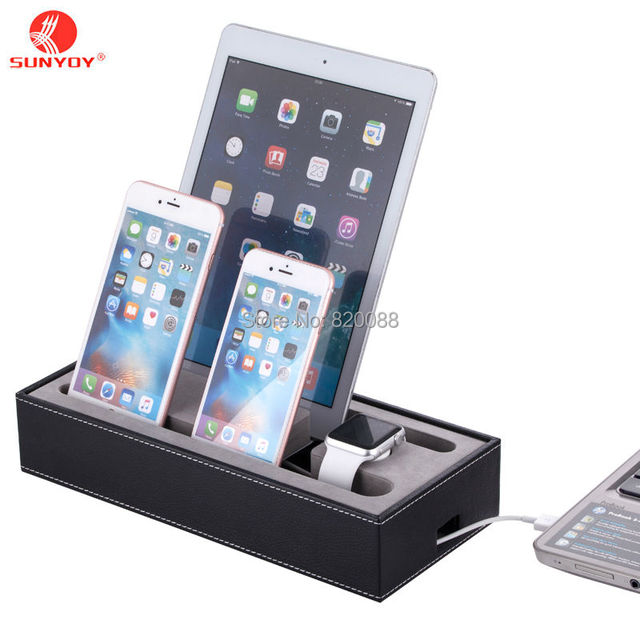 Black PU Leather Cell Phone Charging Station ,4 In 1 Multi Device