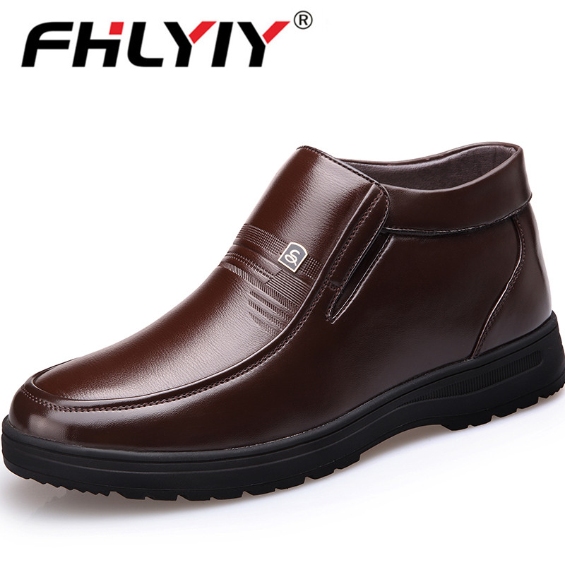 New Genuine Leather Men Ankle Snow Boots Winter Men Business Boots High Top Keep Warm Plush Snow Shoes Zapatos De Hombre