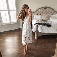 IN STOCK New Summer Women Flower Lace Dress Mid Calf Sleeveless Dress Boho Beach Party Dresses