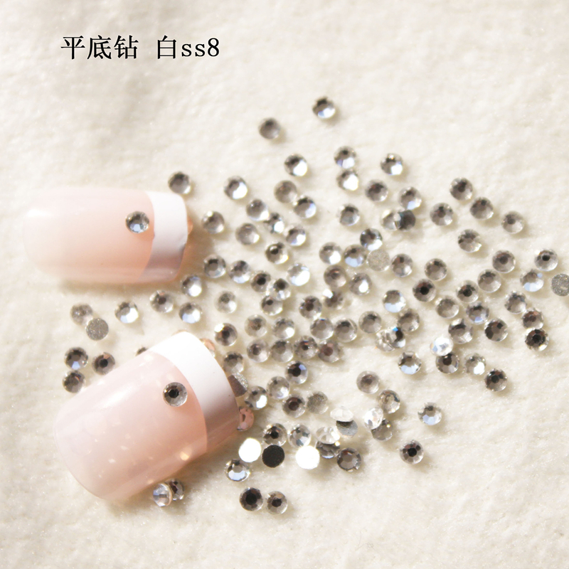 Super Shiny SS8 (2.3-2.4mm) Crystal / Clear Rhinestones for Nail Art 1440pcs/Pack Flat Back Non Hotfix Glue On Nail Art Stones super shiny 5000p ss16 4mm crystal clear ab non hotfix rhinestones for 3d nail art decoration flatback rhinestones diy