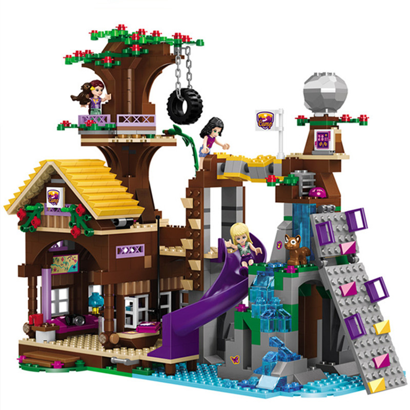 875pcs Adventure Camp Tree House bricks Compatible city Building Blocks girl figure friends Educational Toy For Children|Blocks| |  - title=
