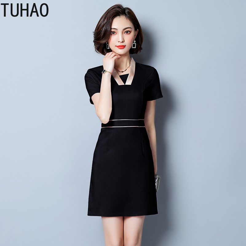 TUHAO 2019 Plus Size 4XL <font><b>3XL</b></font> <font><b>Sexy</b></font> <font><b>DRESS</b></font> Fashion Asymmetrical Solid High Street Style Sheath Women's Knee-Length <font><b>Dresses</b></font> JA389 image