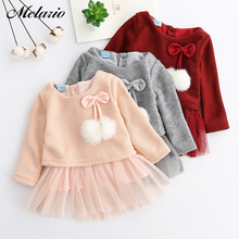 купить 2016 Autumn Winter Baby girls clothes long sleeve princess girls dress Ball of yarn Kids Clothes Children Party princess dresses в интернет-магазине