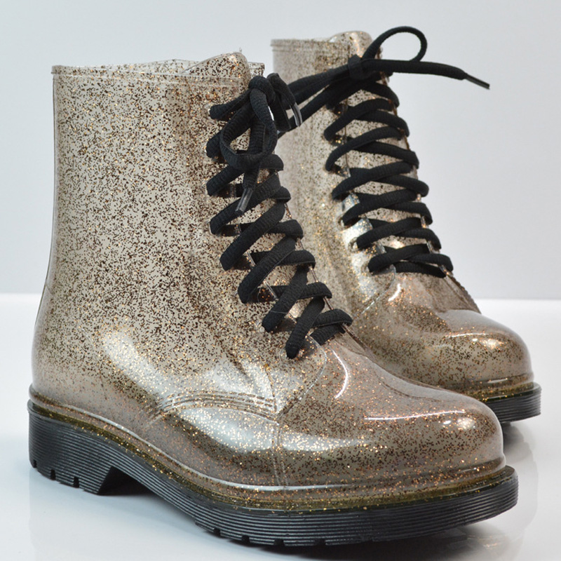 Rain Boots Bling Glitter Platform Women Boots Lace Up Winter Ankle Boots  Casual Shoes Woman Women Flats Shoes Size 36 40 XWX4356-in Ankle Boots from  Shoes ... a6b19adf79ee
