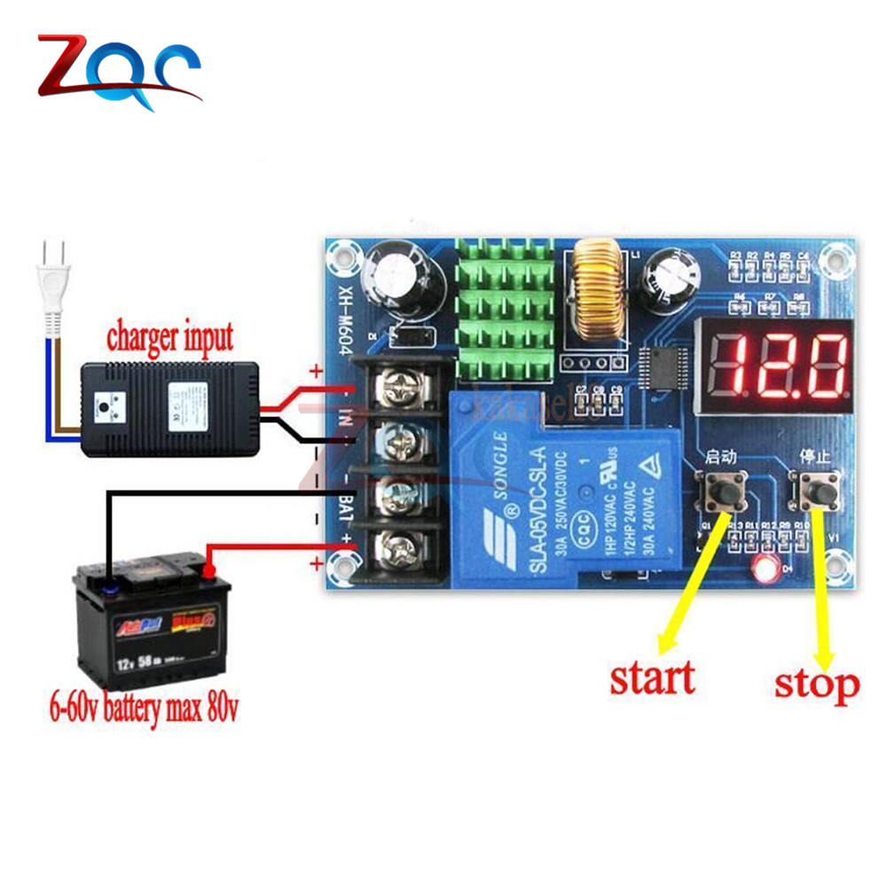 Xh M604 Battery Charger Control Module Dc 6 60v Storage Lithium Opamp Low High Controller Circuit 1 X Digital Display Lead Acid Charge