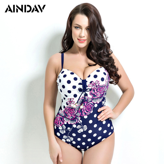 ad6297270599a Rose Print Polka Dot One Piece Swimsuit Plus Size Swimwear Women Vintage  Retro Bathing Suits Beach Wear Swimming Suit for Large
