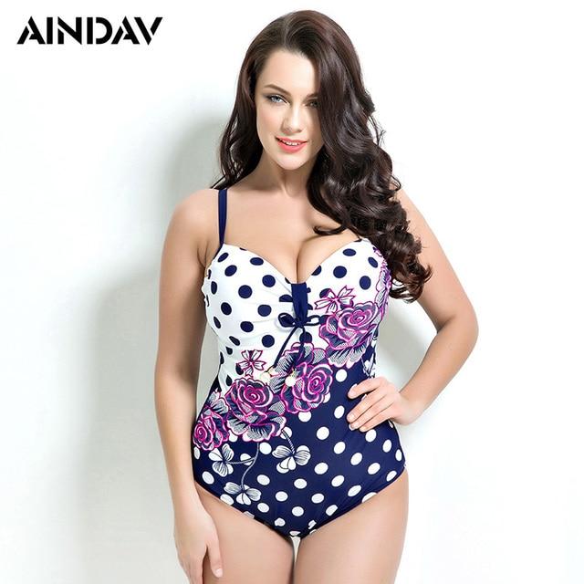 207163f6f3 Rose Print Polka Dot One Piece Swimsuit Plus Size Swimwear Women Vintage  Retro Bathing Suits Beach Wear Swimming Suit for Large