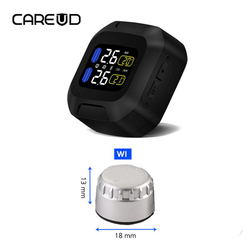 CAREUD M3 Motorcycle TPMS Tire Pressure Monitoring System 2 External Sensor Wireless LCD Display Moto Auto Tyre Alarm Systems steelmate motorcycle tpms tire pressure monitor motorcycle alarm system waterproof external sensor wireless lcd display