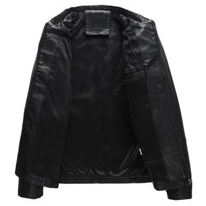 Image 2 - Autumn Winter Mens Casual Zipper PU Leather Jacket  Motorcycle Leather Jacket Men Leisure Clothing Mens Slim Leather Jacket