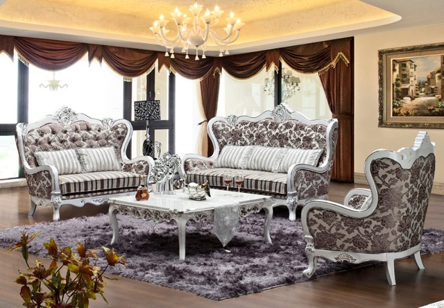 Russia Style Flower Pattern Design Fabric Sofa Sets Living Room Furniture Antique Wooden