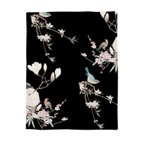Japanese Printed Blanket Chinese Painting Style Magpies on The Branches of Cherry Blossoms and Jasmine Blossoms Call Black