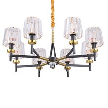 Post Modern LED Chandelier light  6/8/15 heads crystal lampshade Full copper hotel dinning room hall home decotation