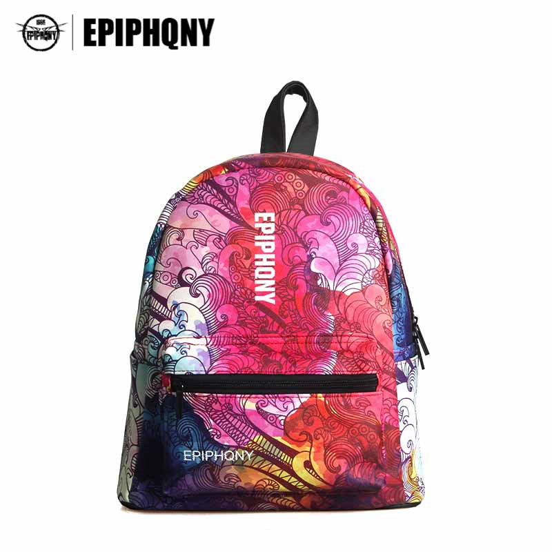Epiphqny Famous Brand Geometric Backpack Women Printing Bagpack Holographic Packbag School PU Leather Travel Bags Girls