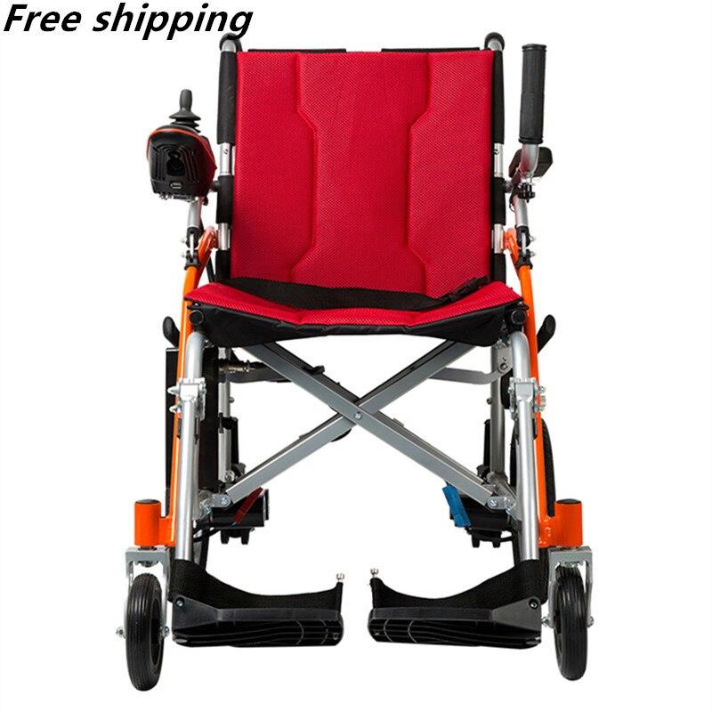 O envio gratuito de porta a porta de entrega 13 peso Líquido kg Poder dobrável cadeira de rodas elétrica da bateria de lítio