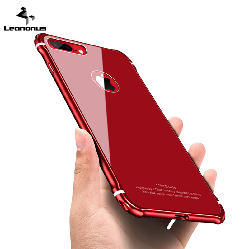 Leanonus New Case For iPhone 8 8Plus Case Luxury Aluminum Bumper+ Back Tempered Glass Armor Casing Cover for iPhone 8 Plus 7Plus ...