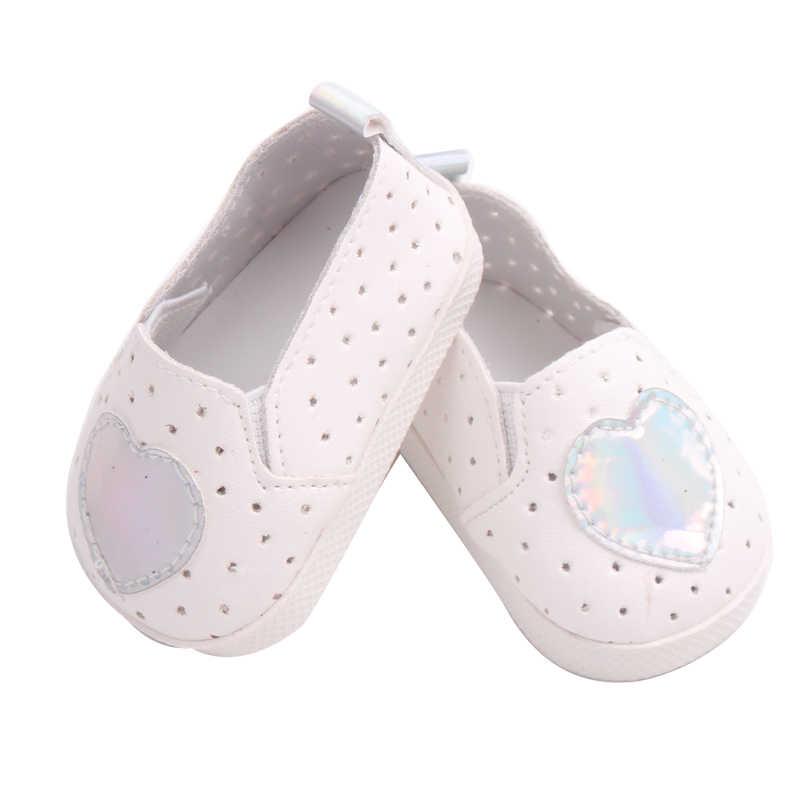18 אינץ בנות בובת נעלי לב הדפסת שטוח נעלי PU נעל אמריקאי חדש נולד אביזרי תינוק צעצועי כושר 43 cm תינוק s160