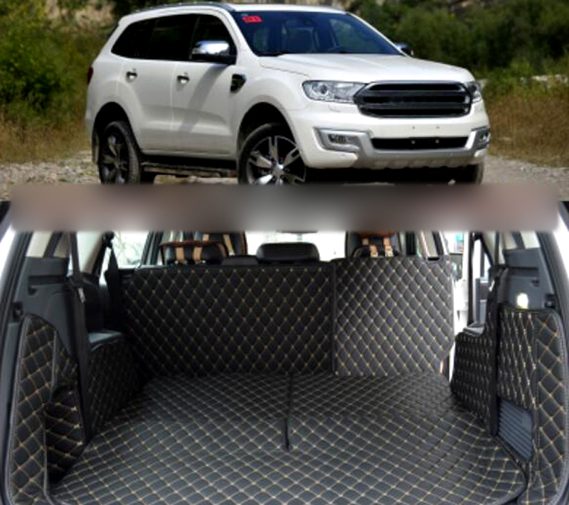 7PCS Black Rear Trunk Cargo Hatch Floor Mats Pad Cover Carpets Waterproof for Ford Everest SUV 4 Door 2015 2016 car rear trunk security shield cargo cover for volkswagen vw tiguan 2016 2017 2018 high qualit black beige auto accessories