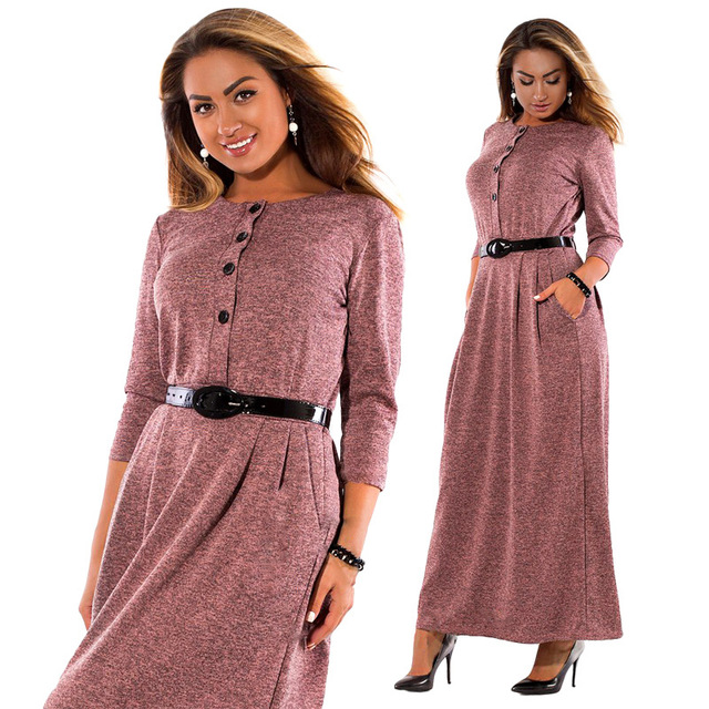 6xl Plus Size Dress Women Autumn Winter Clothes Cotton Office Work
