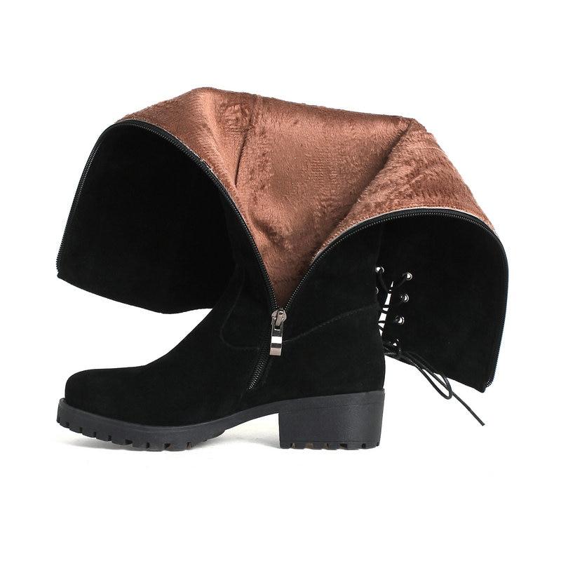 Up Las Pu Caliente Mujeres Zapatos Bajo Señoras Felpa Plataforma Invierno De black Black Tacón Grueso Lace La Lateral Flock Rodilla Cremallera 1ZqSvU1
