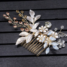 Refined Hair Comb Clip With Floral Decorations