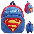 Bonito crianças Superman de pelúcia mochila saco de escola de moda mochila para 0-6years crianças dois tamanhos saco de escola mochila de pelúcia