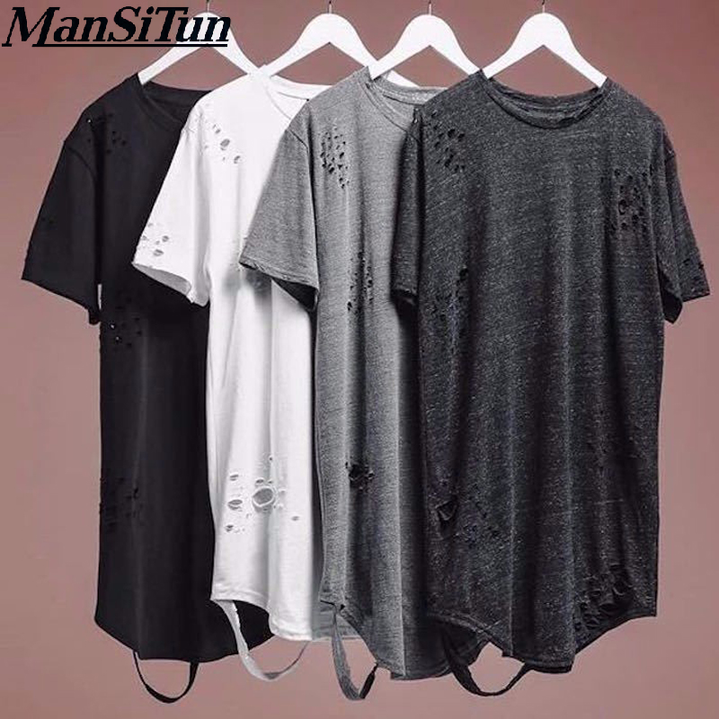 2019 Newest Fashion extended t shirt tee Straps Extra Long Tall LONG TALL Shirts Kanye West Mens T Shirts S XXL