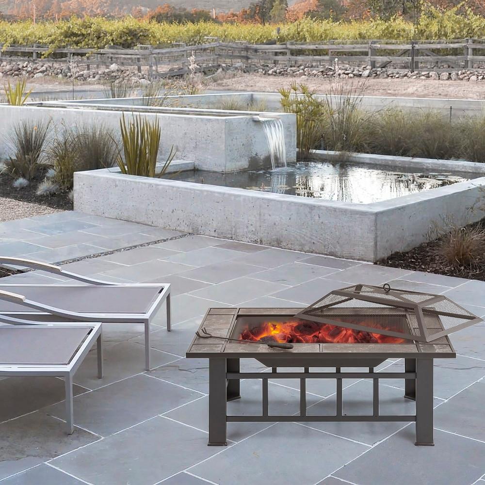 Verbazingwekkend IKayaa Metalen Tuin Achtertuin Vuurkorf Patio Rechthoekige Firepit OI-63