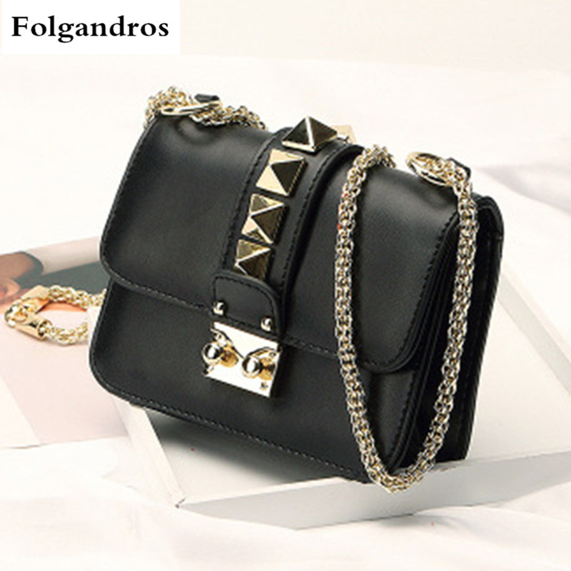 Luxury Brand Fashion Ladies Women Leather Handbag Shoulder Crossbody Messenger Bags Gold Lock Stud Pyramid Rivet Chain Strap Bag 2017 new crossbody bags for women candy colors messenger bag brand fashion ladies shoulder bag women leather handbag l4 2616