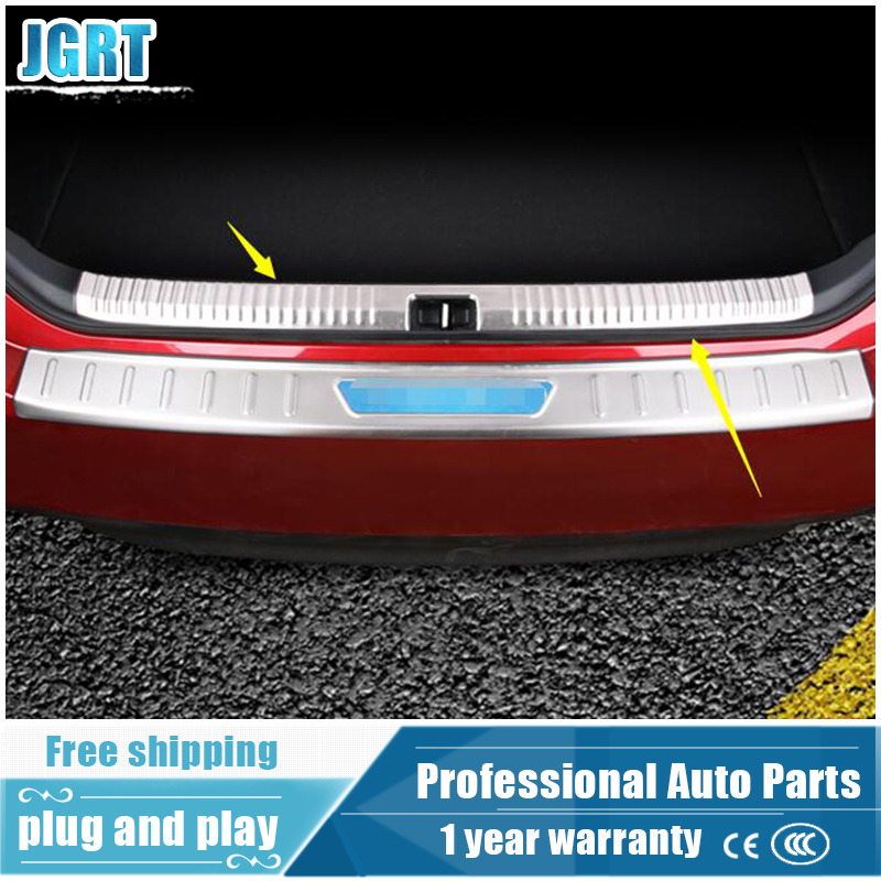 2018 car styling for Toyota Camry stainless steel inner Rear guard plate for Camry internal rear trunk protection pedal 1 pcs built guard bump guard plate after the pedal steel trunk for 2011 2012 2013 2014 vw volkswagen polo hatchback