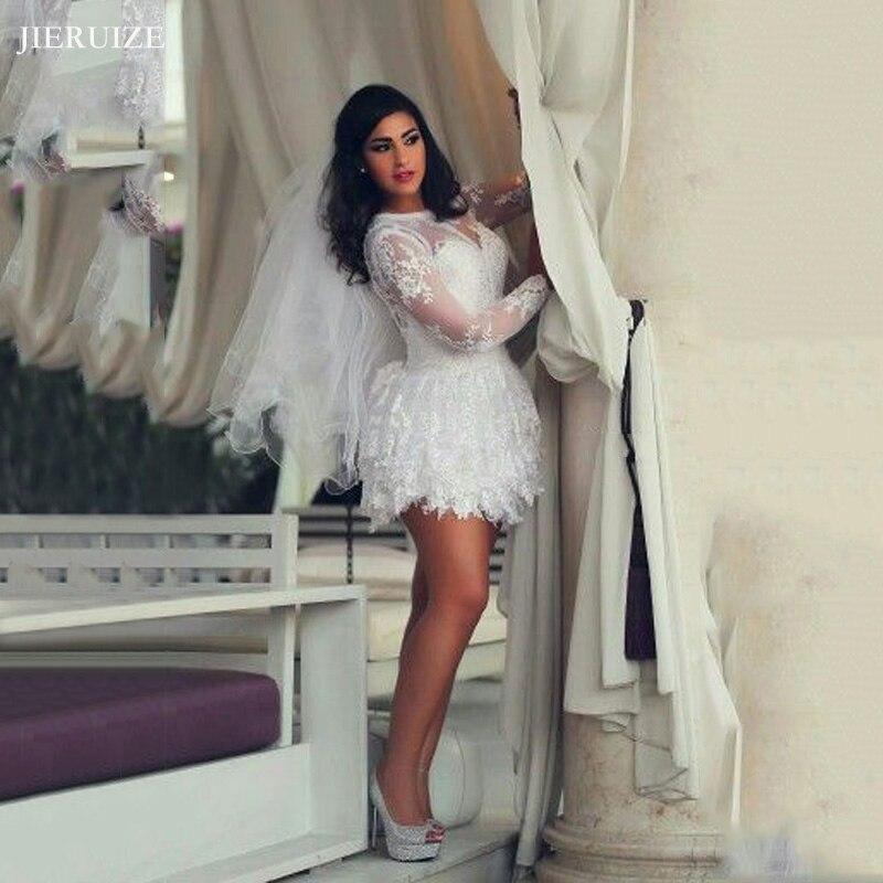 JIERUIZE Tiered White Lace Short Wedding Dresses Long Sleeves Keyhole Back Short Summer Beach Bride Dresses Robe De Mariee