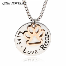 "QIHE JEWELLERY ""LIVE LOVE RESCUE"" Dog Paw Claw Print Silver Pendant Necklace"