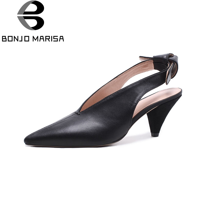 BONJOMARISA 2018 Genuine Leather Bowtie Women Sandals Pointed Toe Spike Heels Slip On Sandals Shoes Woman Size 34-39 cloth slip on bowtie pointed toe womens sandals