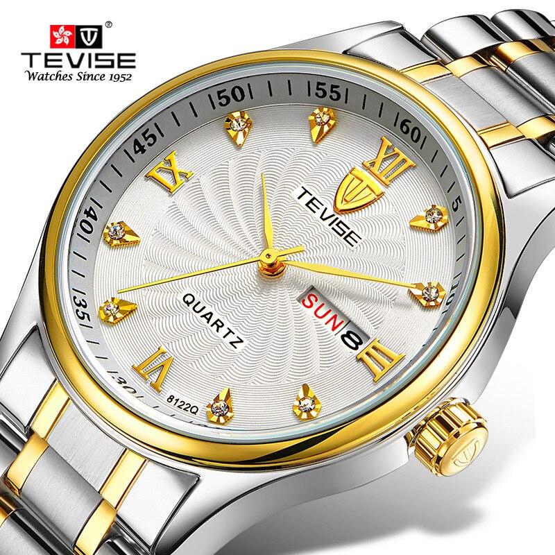 TEVISE relojes de lujo señoras reloj pulsera impermeable relojes de cuarzo de acero inoxidable montre femme acier inoxydable