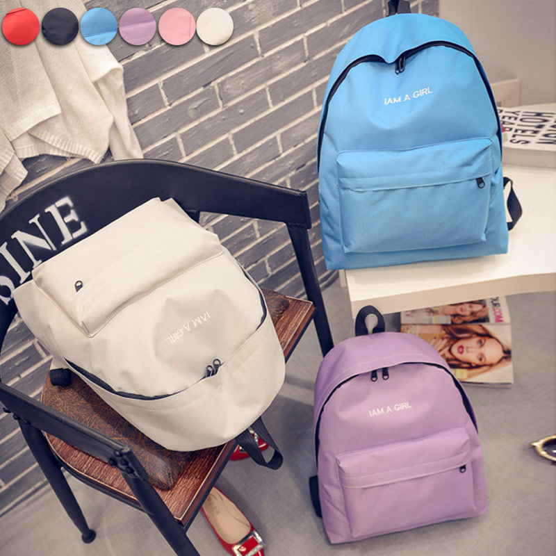 Fashion Women Letters Embroidery Canvas Backpack School Student Teenage Girl Backpacks Traveling Rucksack  Best Sale-WT