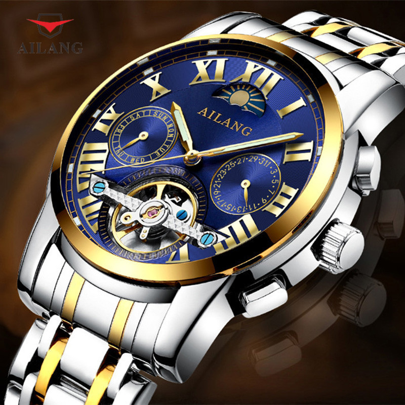 цена на AILANG Men Mechanical Wristwatches Automatic Self Wind Water Resistant Stainless Steel Masculine Workplace Business Watch A027