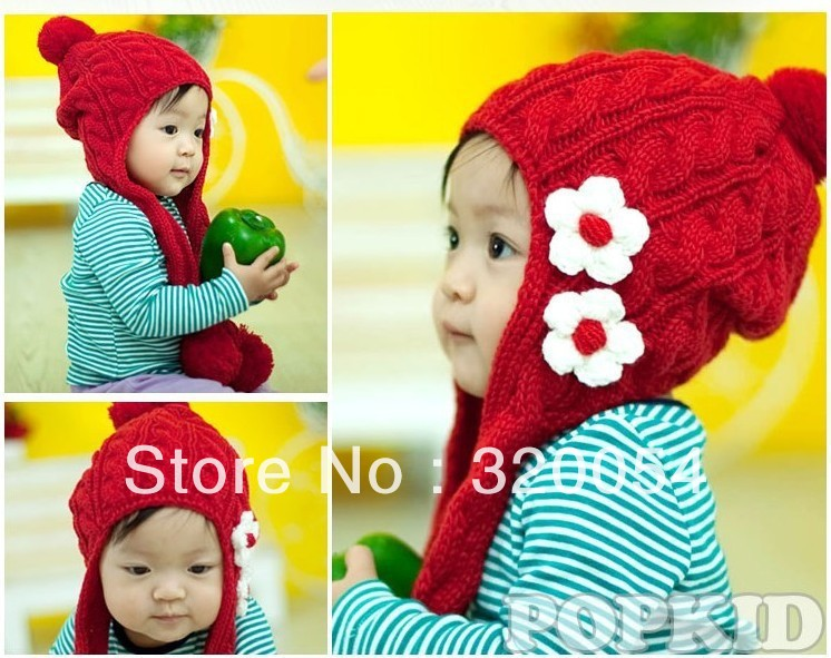 1 шт., новинка два цветы коса детская вязаная шапочка, мода осень и зима warmmer шляпы для детей, 3 цвета