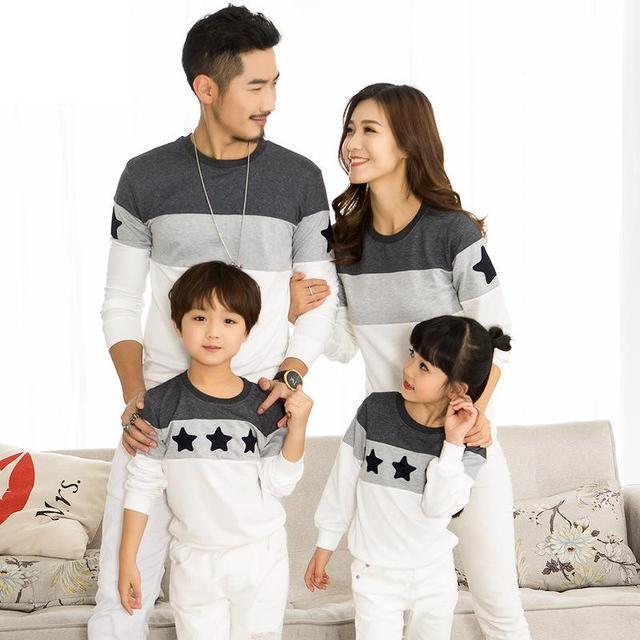 2018 Spring Family Clothing T-shirts Couples Clothing Dad Mom Kids Long  sleeve Sweatshirt t