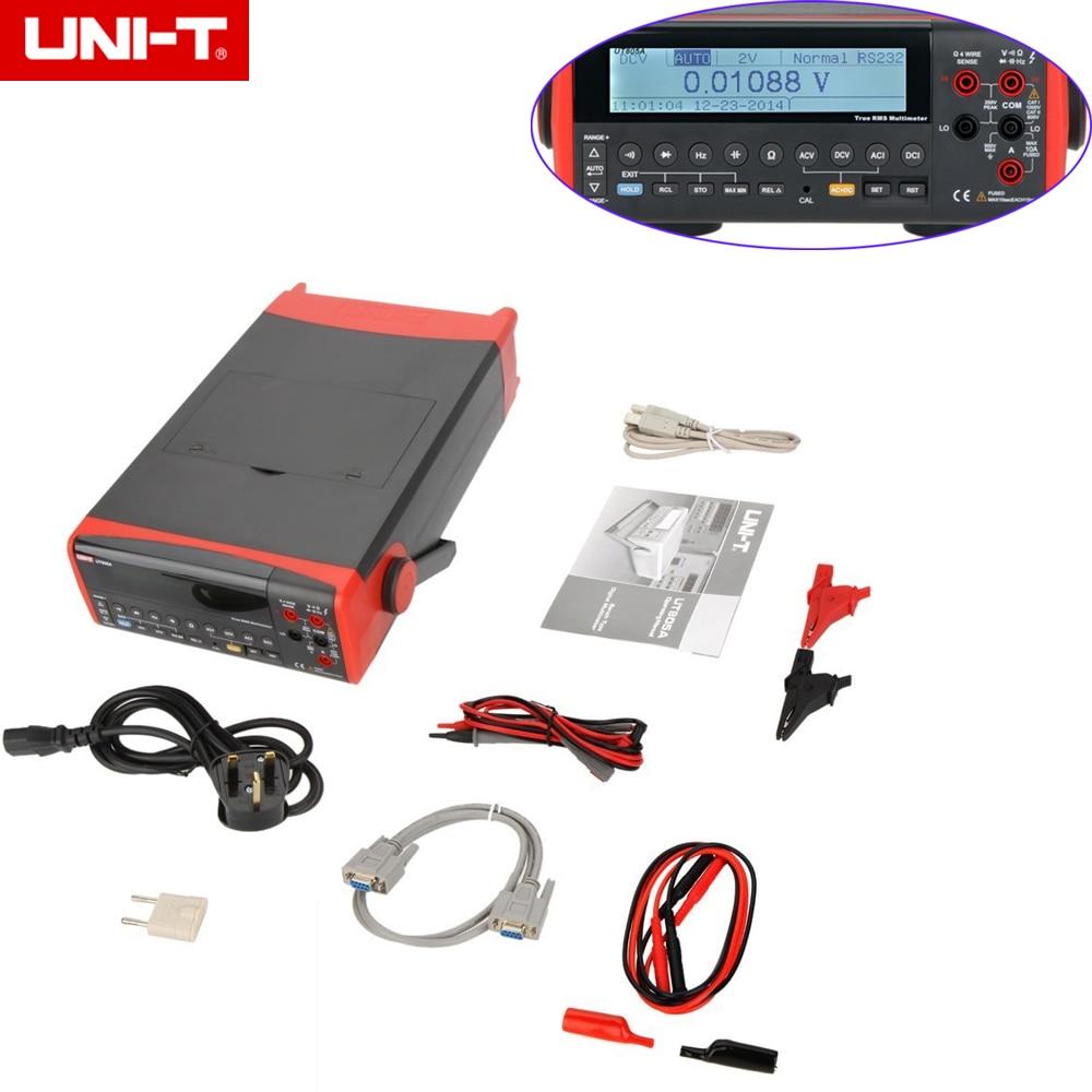 UNI-T UT805A 200000 Counts True RMS Auto Range Bench Type Digital Multimeter DMM Volt Amp Ohm Cap. HZ Meter W/USB & RS23210 hot sale ut802 uni t bench type digital multimeter automotive multimeter