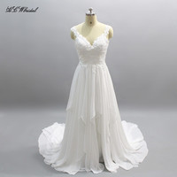 Vestido De Noiva 2018 New Chiffon Wedding Dress A Line Sweep Train Sheer Lace Vintage Bridal