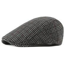 Новинка; мужские и женские береты в стиле ретро; винтажные клетчатые плоские шапки в стиле плюща; осенне-зимние шапки для мужчин; мужские зимние шерстяные береты