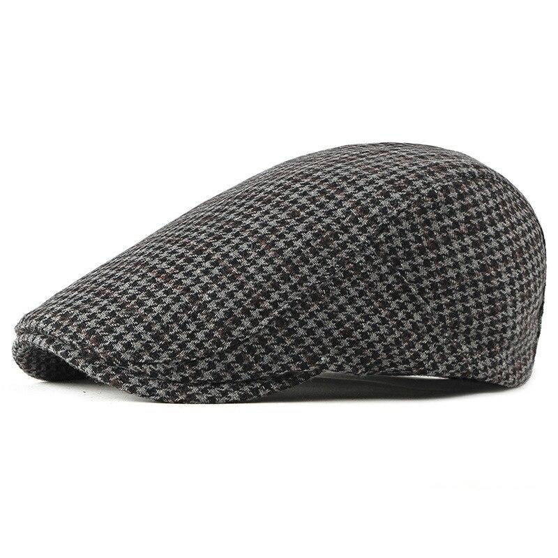 HT1988 New Men Women Beret Caps Retro Vintage Plaid Flat Ivy Newsboy Autumn Winter for Male Wool Berets
