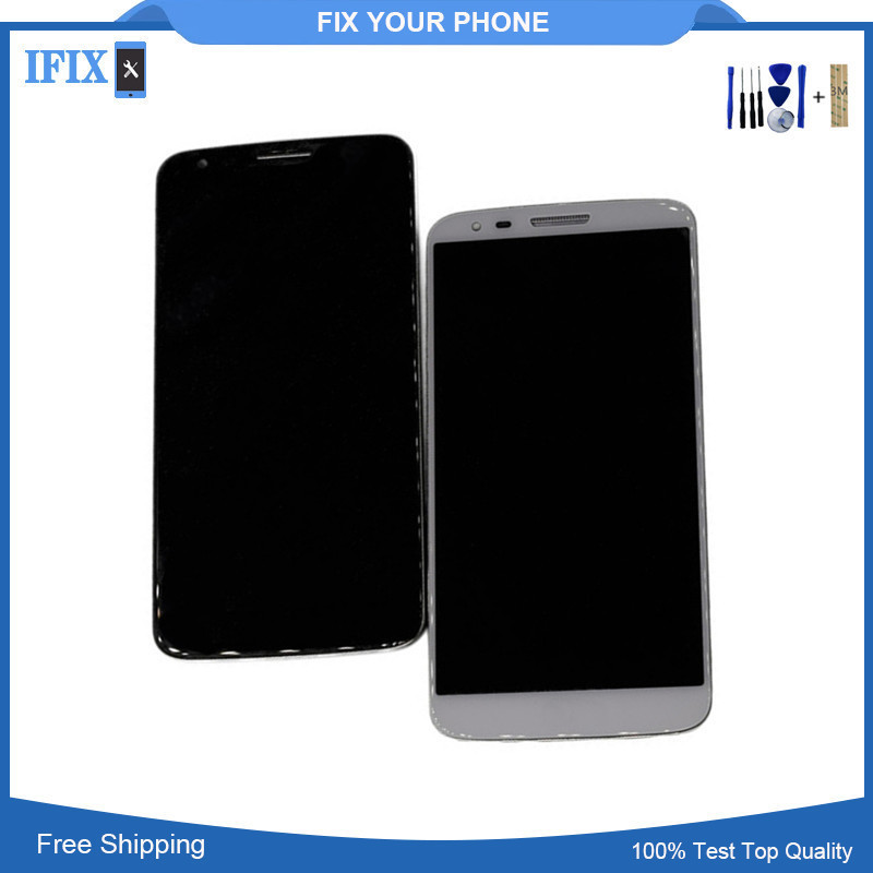 For LG G2 D802 D805 LCD Display Touch Screen Mobile Phone Lcds Digitizer Assembly With Bezel Frame Send Free Tools